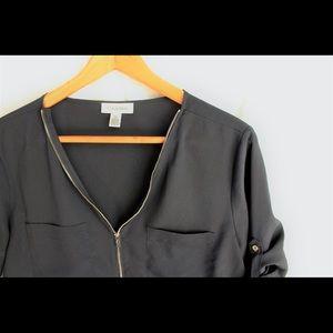 Calvin Klein • 3/4 zip up blouse • Dark Gray